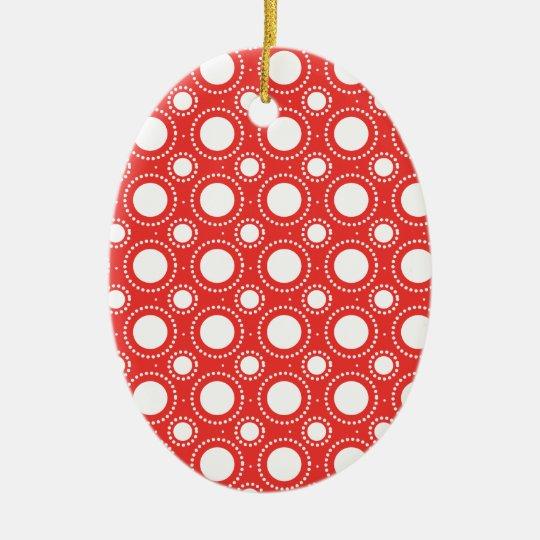 Trendy Red & White Polka Dots Pattern Ceramic Ornament