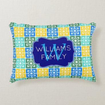 Beach Themed Trendy Resort Fashion Mediterranean Tiles Monogram Accent Pillow