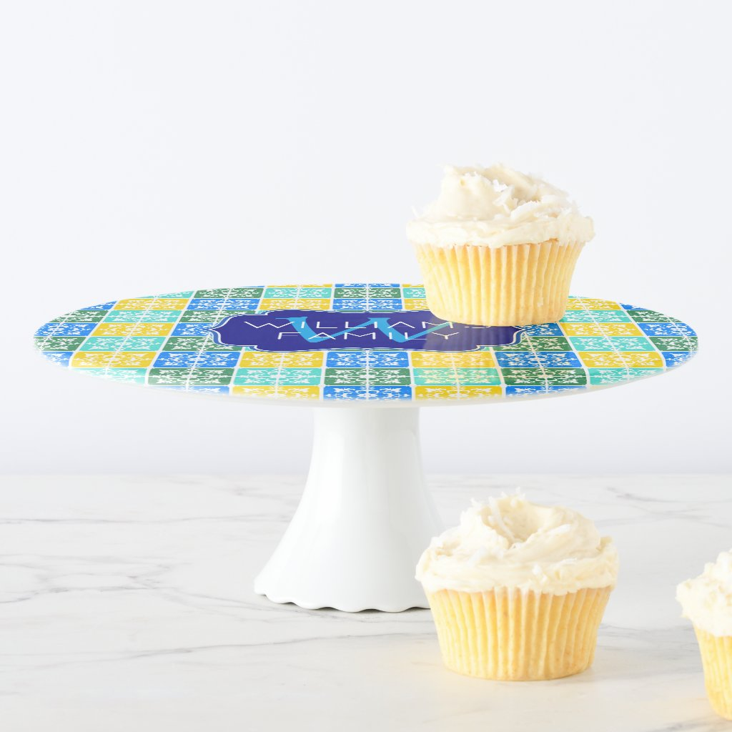 Trendy Resort Fashion Mediterranean Tiles Monogram Cake Stand