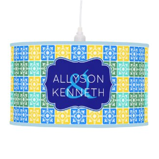 Trendy Resort Fashion Mediterranean Tiles Monogram Ceiling Lamp