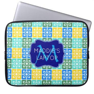 Beach Themed Trendy Resort Fashion Mediterranean Tiles Monogram Laptop Sleeve