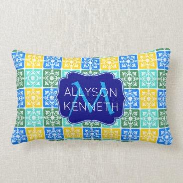 Beach Themed Trendy Resort Fashion Mediterranean Tiles Monogram Lumbar Pillow