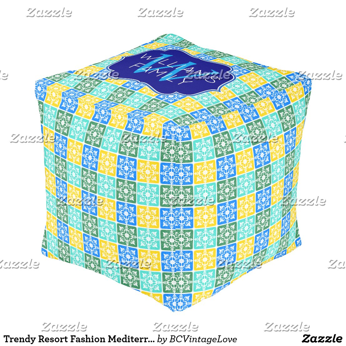 Trendy Resort Fashion Mediterranean Tiles Monogram Pouf