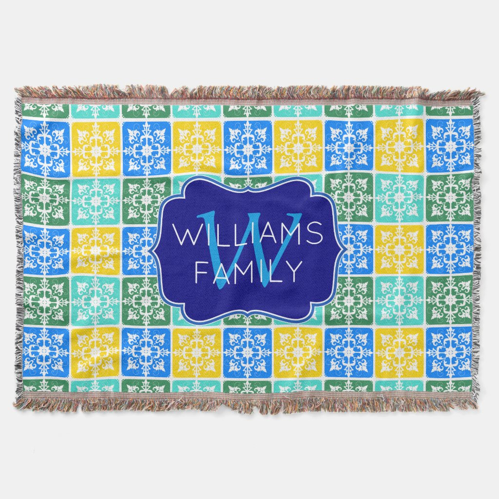 Trendy Resort Fashion Mediterranean Tiles Monogram Throw Blanket
