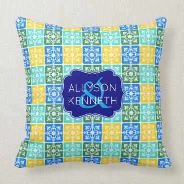 Beach Themed Trendy Resort Fashion Mediterranean Tiles Monogram Throw Pillow