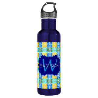 Trendy Resort Fashion Mediterranean Tiles Monogram Water Bottle