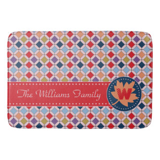 Trendy Retro Autumn Fall Fashion Pattern Monogram Bathroom Mat
