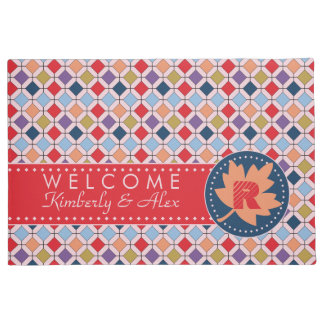 Trendy Retro Autumn Fall Fashion Pattern Monogram Doormat