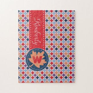 Trendy Retro Autumn Fall Fashion Pattern Monogram Jigsaw Puzzle