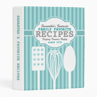 Trendy Retro Recipes Blue Personalized Mini Binder