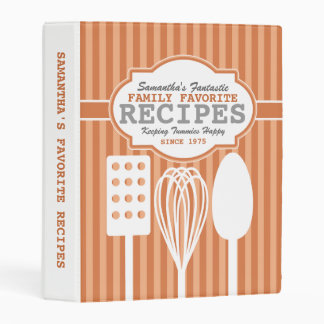 Trendy Retro Recipes Orange Personalized Mini Binder