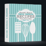 """Trendy Retro Recipes Personalized Binder<br><div class=""""desc"""">Fun retro/vintage look kitchen utensils and striped on this personalized recipe binder - customize the text to make this awesome recipe binder entirely unique! The perfect gift for a newlywed or mom,  or grandmother!</div>"""