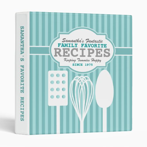 Trendy Retro Recipes Personalized Vinyl Binder