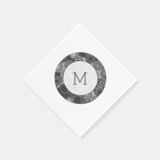 Trendy Retro Swirls Silver Gray Monogram Disposable Napkins