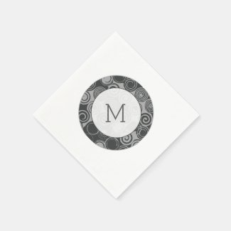 Trendy Retro Swirls Silver Gray Monogram Disposable Napkins