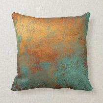 Trendy Rich Copper Patina Metallic Throw Pillow