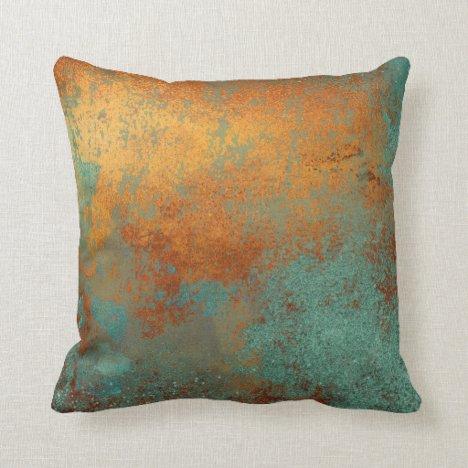 Trendy Rich Copper Patina Metallic Throw Pillow