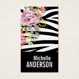 Trendy romantic floral chic animal print business card