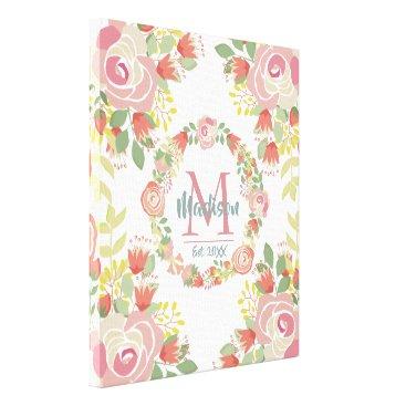 Art Themed Trendy romantic floral monogram canvas print