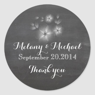 Trendy romantic flowers chalkboard thank you classic round sticker