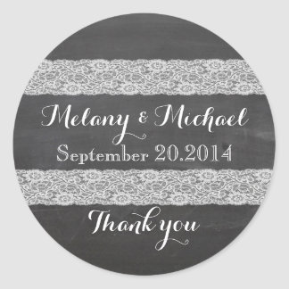 Trendy romantic stylish lace chalkboard thank you sticker