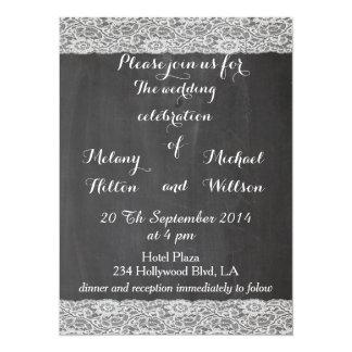 Trendy romantic stylish lace chalkboard wedding card