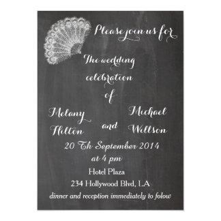 Trendy romantic vintage fan chalkboard wedding card