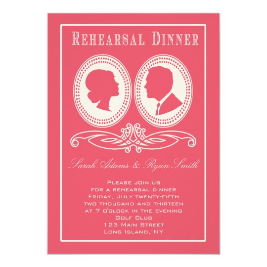 Trendy Rose Chevron & Script Rehearsal Dinner Card