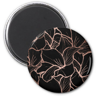 Trendy rose gold abstract handdrawn floral black 2 inch round magnet