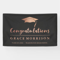Trendy Rose Gold  Black Congratulations Graduation Banner