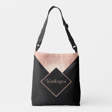 Professional Business Trendy Rose Gold Black Metallic Feminine Modern Crossbody Bag