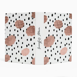 Trendy rose gold clouds black rain polka dots mini binder