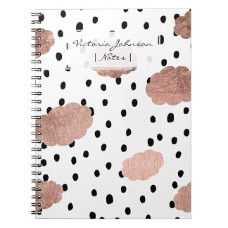 Trendy rose gold clouds black rain polka dots notebook