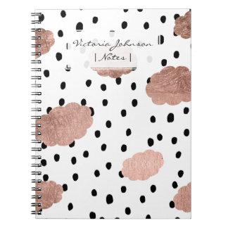 Trendy rose gold clouds black rain polka dots spiral notebook