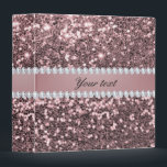 """Trendy Rose Gold Faux Glitter and Diamonds 3 Ring Binder<br><div class=""""desc"""">Glamorous personalized big rose gold faux glitter sequins and diamonds. PLEASE NOTE: These are flat printed graphics - no real glitter, jewels or raised parts. Click on the Customize it / Personalize it button to personalize with your text. If you need any assistance customizing your product please contact me through...</div>"""
