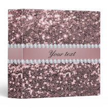 Trendy Rose Gold Faux Glitter and Diamonds 3 Ring Binder