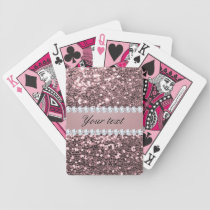 Trendy Rose Gold Faux Glitter and Diamonds Bicycle Playing Cards