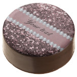 Trendy Rose Gold Faux Glitter and Diamonds Chocolate Dipped Oreo