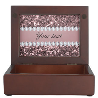 Trendy Rose Gold Faux Glitter and Diamonds Keepsake Box