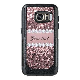 Trendy Rose Gold Faux Glitter and Diamonds OtterBox Samsung Galaxy S7 Case