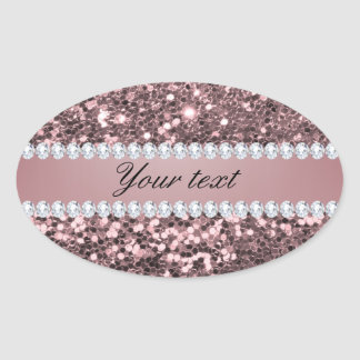 Trendy Rose Gold Faux Glitter and Diamonds Oval Sticker