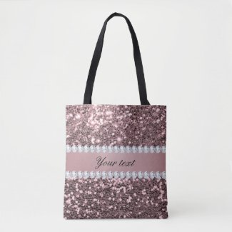 Trendy Rose Gold Faux Glitter and Diamonds Tote Bag