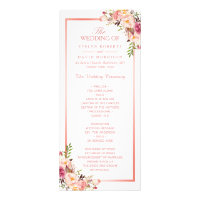 Trendy Rose Gold Frame Floral Wedding Program