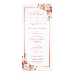 Trendy Rose Gold Frame Floral Wedding Program