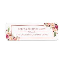Trendy Rose Gold Frame Vintage Pink Flowers Label