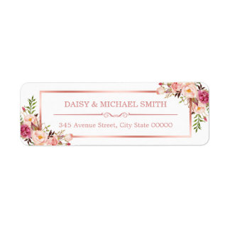 Trendy Rose Gold Frame Vintage Pink Flowers Label