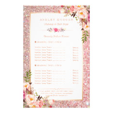 Trendy Rose Gold Glitter Floral Beauty Salon Menu at Zazzle