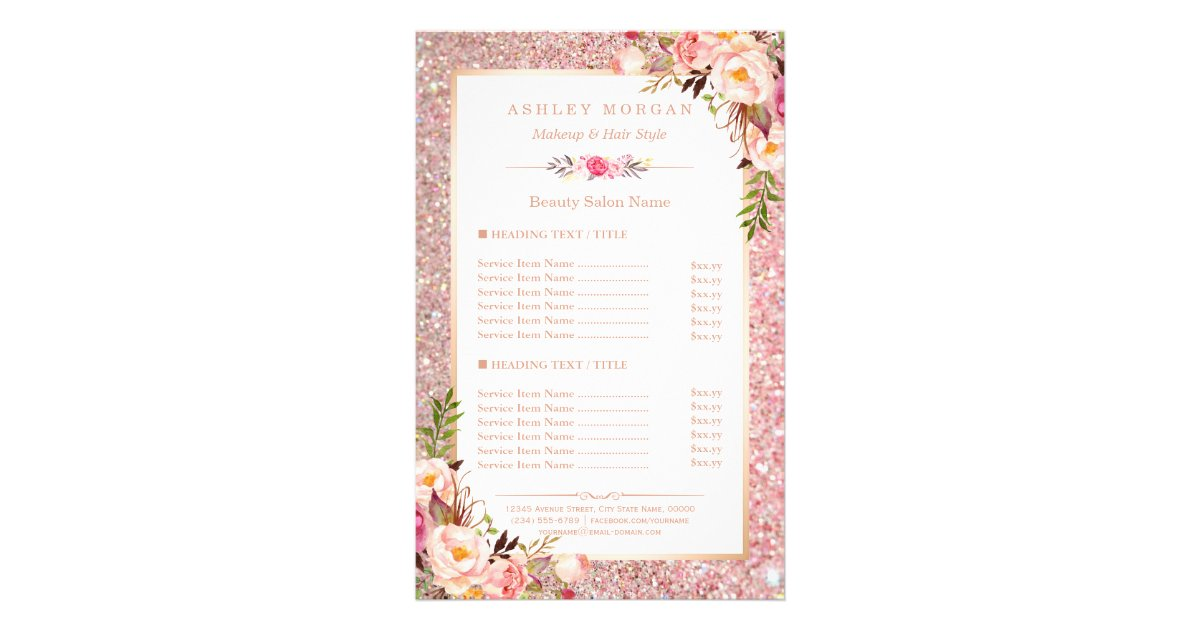 Trendy Rose Gold Glitter Floral Beauty Salon Menu