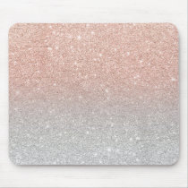 Trendy rose gold glitter ombre silver glitter mouse pad