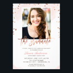 """Trendy Rose Gold Graduate Photo Graduation Party Card<br><div class=""""desc"""">Create the perfect invite with this &quot;Trendy Rose Gold Graduate Photo Graduation Party Invitation&quot; template. This high-quality design is easy to customize to be uniquely yours! (1) For further customization, please click the &quot;customize further&quot; link and use our design tool to modify this template. (2) If you need help or...</div>"""